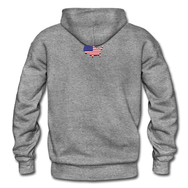 I Love America Gildan Heavy Blend Unisex Hoodie w/Logo on Chest ans USA Shaped Flag on Back - graphite heather