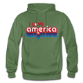 I Love America Gildan Heavy Blend Unisex Hoodie w/Logo on Chest ans USA Shaped Flag on Back - military green