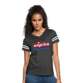 I Love America Women's Vintage Sport T-Shirt w/Logo on Chest - vintage smoke/white