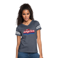 I Love America Women's Vintage Sport T-Shirt w/Logo on Chest - vintage navy/white