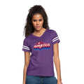 I Love America Women's Vintage Sport T-Shirt w/Logo on Chest - vintage purple/white