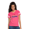 I Love America Women's Vintage Sport T-Shirt w/Logo on Chest - vintage pink/white