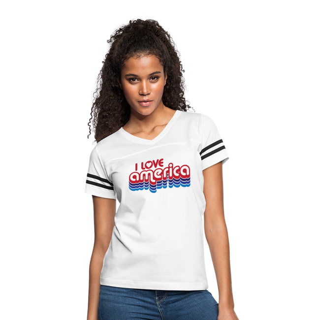 I Love America Women's Vintage Sport T-Shirt w/Logo on Chest - white/black