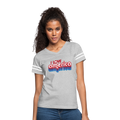 I Love America Women's Vintage Sport T-Shirt w/Logo on Chest - heather gray/white