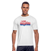 +I Love America Men's Moisture Wicking Performance T-Shirt w/Logo on Chest - white