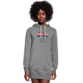 =I Love America Women's Hoodie Dress w/Logo on Chest and USA Shaped American Flag - heather gray