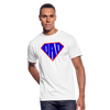 Superdad Men's 50/50 T-Shirt w/Identical Logo on Chest and Back Label - white