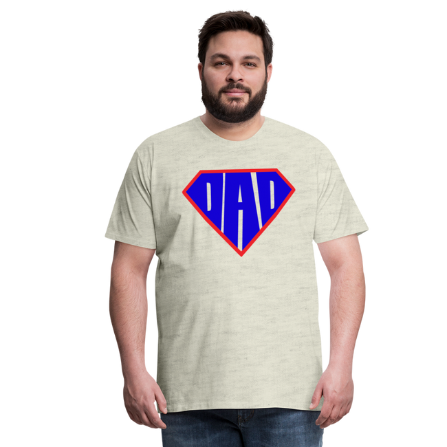 Superdad Men's Premium T-Shirt w/Logo on Chest - heather oatmeal