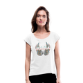 Mamas Wings Women's Roll Cuff T-Shirt w/Logo on Chest - white