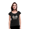 Mamas Wings Women's Roll Cuff T-Shirt w/Logo on Chest - black