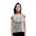 Mamas Wings Women's Roll Cuff T-Shirt w/Logo on Chest - heather gray