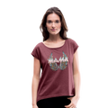 Mamas Wings Women's Roll Cuff T-Shirt w/Logo on Chest - heather burgundy