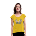 Mamas Wings Women's Roll Cuff T-Shirt w/Logo on Chest - mustard yellow
