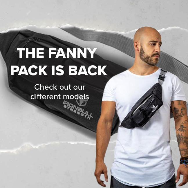 Iron Bull Strength fanny pack banner, featuring male athlete wearing a crossbody utility bag, mobile version