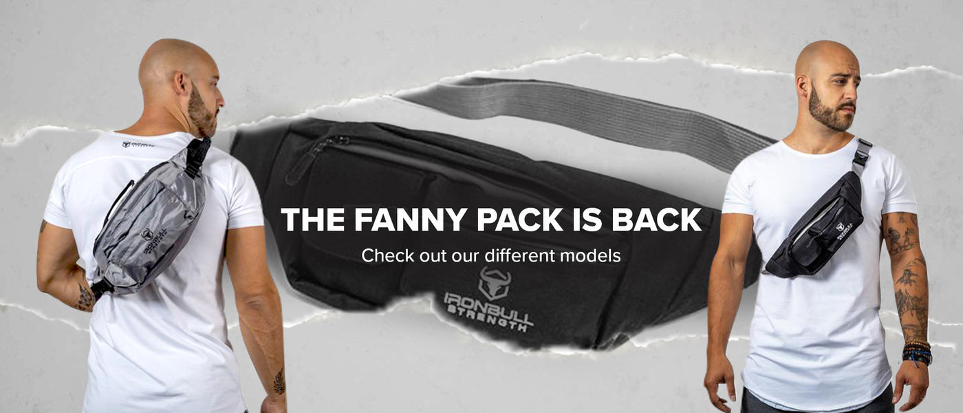 Iron Bull Strength fanny pack banner, featuring male athlete wearing a crossbody utility bag