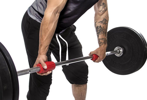 man using alpha grips for thick bar training