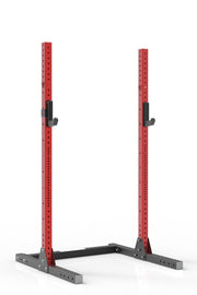 "87"" red coated steel squat stand iron bull strength"