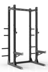 "105"" black powder coated steel home gym half rack with multi grip pull up bar, safety arms, rear extension for weight plates storage and j-cups from iron bull strength"