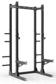 "111"" black powder coated steel home gym half rack with multi grip pull up bar, safety arms, rear extension for weight plates storage and j-cups from iron bull strength"