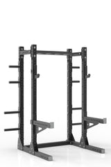 "81"" black powder coated steel home gym half rack with multi grip pull up bar, safety arms, rear extension for weight plates storage and j-cups from iron bull strength"