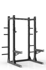 "87"" black powder coated steel home gym half rack with multi grip pull up bar, safety arms, rear extension for weight plates storage and j-cups from iron bull strength"