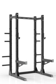 "93"" black powder coated steel home gym half rack with multi grip pull up bar, safety arms, rear extension for weight plates storage and j-cups from iron bull strength"