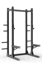 "99"" black powder coated steel home gym half rack with multi grip pull up bar, safety arms, rear extension for weight plates storage and j-cups from iron bull strength"