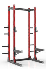 "105"" red powder coated steel home gym half rack with multi grip pull up bar, safety arms, rear extension for weight plates storage and j-cups from iron bull strength"