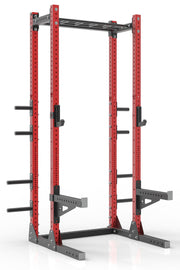 "111"" red powder coated steel home gym half rack with multi grip pull up bar, safety arms, rear extension for weight plates storage and j-cups from iron bull strength"