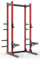 111 red powder coated steel home gym half rack with multi grip pull up bar, safety arms, rear extension for weight plates storage and j-cups from iron bull strength