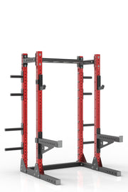 "81"" red powder coated steel home gym half rack with multi grip pull up bar, safety arms, rear extension for weight plates storage and j-cups from iron bull strength"