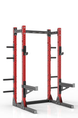 "87"" red powder coated steel home gym half rack with multi grip pull up bar, safety arms, rear extension for weight plates storage and j-cups from iron bull strength"