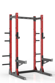 "93"" red powder coated steel home gym half rack with multi grip pull up bar, safety arms, rear extension for weight plates storage and j-cups from iron bull strength"