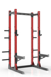"99"" red powder coated steel home gym half rack with multi grip pull up bar, safety arms, rear extension for weight plates storage and j-cups from iron bull strength"