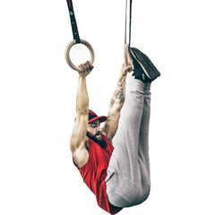 abdominal workout using wooden gym rings