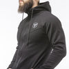 black long sleeves zip up hoodie with zip pockets