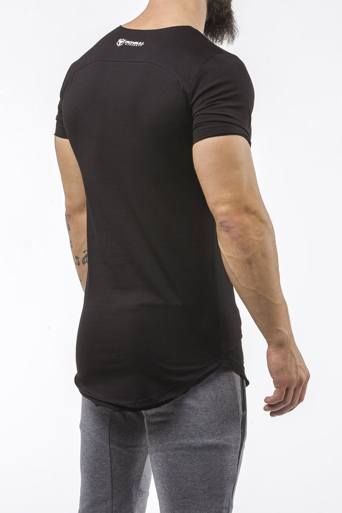 black gym t-shirt scoop neck breathable shirt