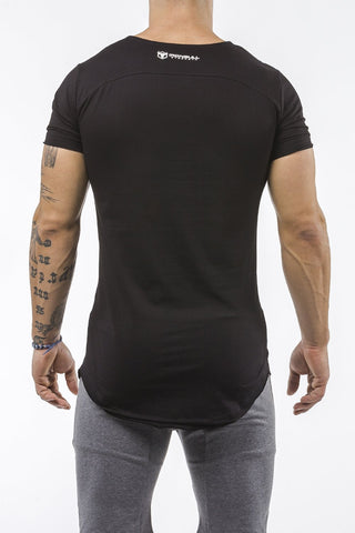 black gym t-shirt scoop neck stretch cotton