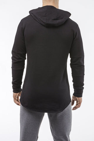 black long sleeves pullover hoodie with zip pockets