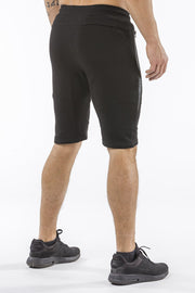 black tapered fit shorts for fitness