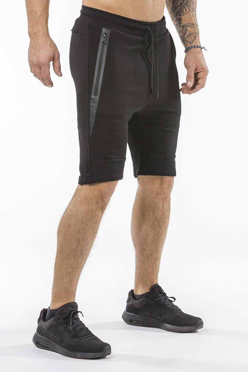 black sports shorts with pocket zip