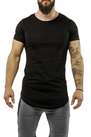 black workout t-shirt scoop neck casual wear