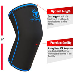 black-blue iron bull strength 5mm elbow sleeve features