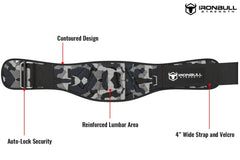 camo-white iron bull strength 6 inches nylon weightlifting belt features