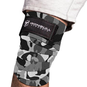 camo-white iron bull strength knee support wraps