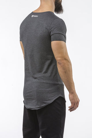 charcoal gym t-shirt scoop neck breathable shirt