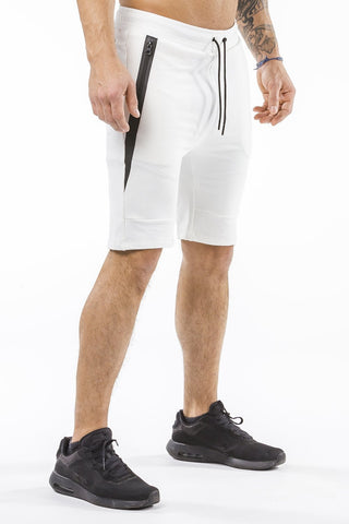 cream sports shorts with pocket zip
