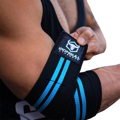 black-cyan green elbow compression wraps