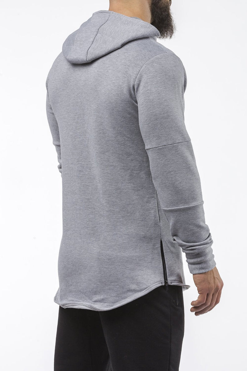 gray tapered fit hoodie bodybuilder strongman