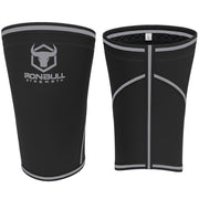 black-gray iron bull strength 7mm knee sleeves front and back